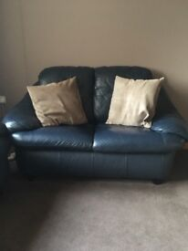 Free leather sofas - blue, 3 and 2 seater