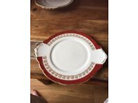Red and gold cake plate