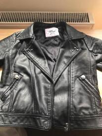 Girls faux leather jacket aged 7/8