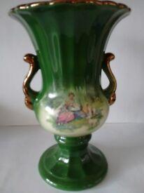 Vintage KLM Staffordshire Green Two Handled Vase.