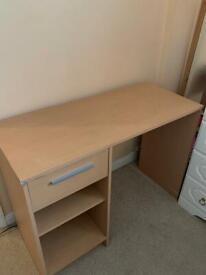 Beech Coloured Wooden Office Desk