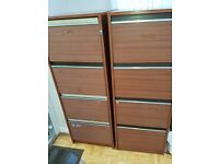 Two wood effect filing cabinets 4 drawers.
