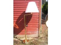 Adjustable mid-century brass standard floor standing lamp swing-arm