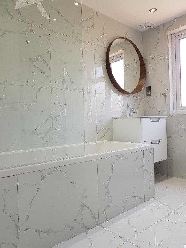 White Porcelain Tiles - marble effect - for walls, floors   in ...