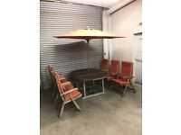 FREE DELIVERY WOODEN GARDEN TABLE WITH 6 CHAIRS & UMBRELLA GOOD CONDITION