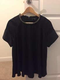 Women's size 12 black satin Topshop top with beaded collar