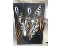 Large Zebra Canvas Painting - EXCELLENT condition 1.8m x 1.2m