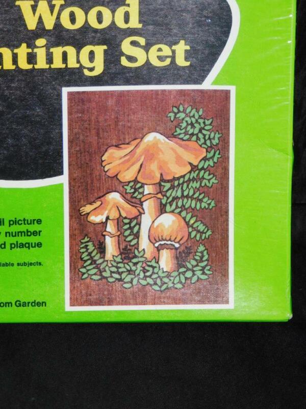 Vintage 1972 Craft Master Mushroom Garden Wood Paint By Number Kit New Sealed