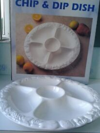 Unused White embossed serving dish / Chip and dip dish.