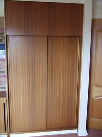 Bedroom Wardrobe Doors and Fittings - reclaimed/salvaged Mahogany Contiboard. Very Low Price.