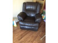 Single leather sofa (also reclines)