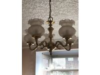 Brass ceiling light fitting with 5 glass shades in good condition. Bayonet fittings.