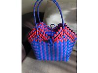 Handmade woven plastic shopper retro picnic beach bag craft basket