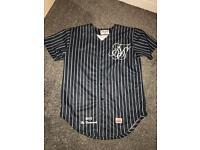 Sik Silk - Navy Blue Striped Baseball Jersey - Size M