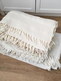 3x large cotton throws sofa covers bedspreads ivory cream colour