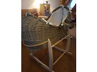 Blue and grey wicker moses basket with matching stand