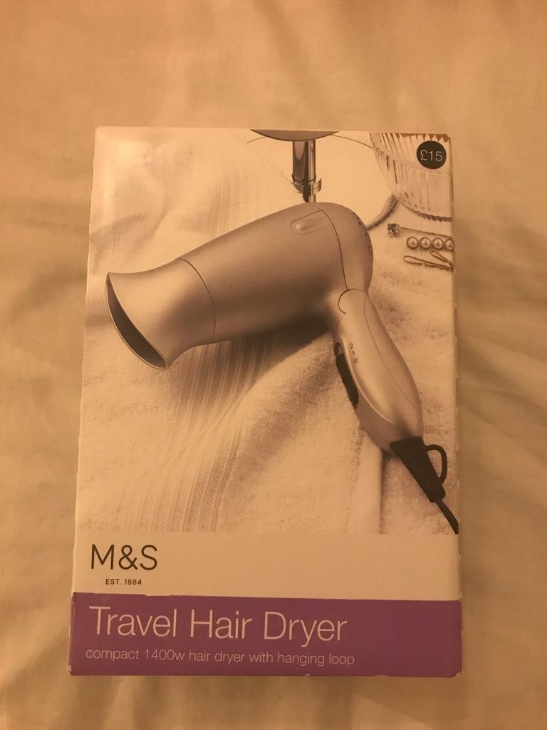 M&S Travel Hair Dryer NEWin Tooting Broadway, LondonGumtree - M&S Travel Hair Dryer RRP £15 Brand New, unopened box. 1400w with hanging loopWeight 0.35kg Cord length 1 metre Collection in Tooting, or I can drive to you if youre local