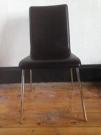 PRICE REDUCTION! 6 Chocolate Brown Real Leather and Chrome Dining Chairs PRICE REDUCED FROM £200!