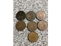 7 half penny coins