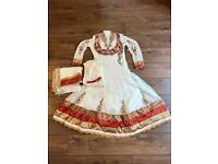 Red, cream and gold Asian dress size 12