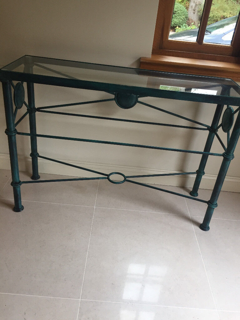 Metal Console Table Glass Top Vintage Style