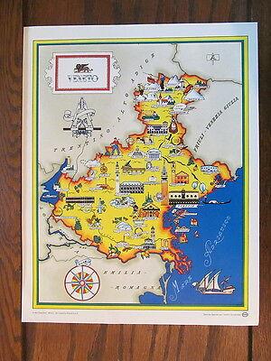 Vintage Pictorial Color Map Veneto Region Italy Panoramic Venice  Esso