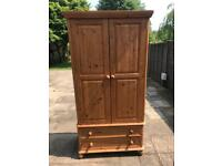 Large Solid Pine Double Wardrobe - Great Condition