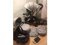 Icandy peach stroller complete 3 in 1 set pram silver/grey travel system