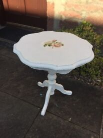 Beautiful vintage, shabby chic, hand painted and decoupaged side/occasional table.