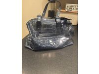 Leather croc patttern hold-all or weekend bag