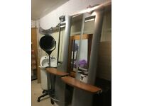 Complete saloon equipment for sale, standing Hair Dryer, head wash basin, 2 cabinets with mirror.