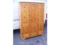 CAN DELIVER - SOLID PINE TRIBLE WARDROBE IN VERY GOOD CONDITION