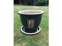 Ornamental glazed garden pot