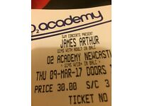 James Arthur ticket o2 academy Newcastle, March 9th