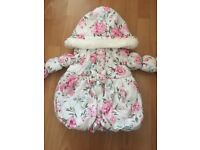 Girls 12-18 month puff ball flower coat excellent condition