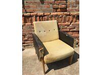 Huge Original Vintage Lounge Chair Mid-Century Furniture Seat Retro Decor