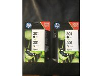 HP 301 ink cartridges. 2 unopened boxes of 4 colours.