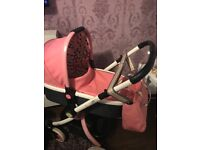 Cosatto ooba pink leather travel system pram.
