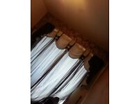 CURTAINS COMPLETE SET - BROWN & CREAM -