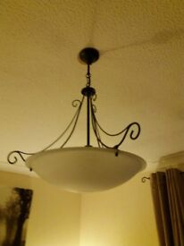 Green / frosted glass Chandaleir uplighter