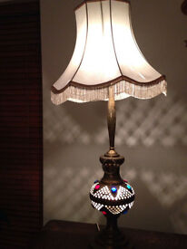 Vintage Rare Brass , Pierced Jewel Embedded Middle Eastern Table Lamp
