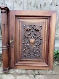 Antique French Oak Door Panel with original key