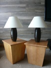 Two Wooden Storage Side Tables (with lamps if wanted)