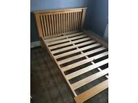 Solid Oak framed double bed for sale