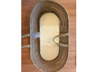Large wicker Moses basket and 9 fitted sheets