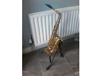 alto saxophone+ stand&case/book/box of reeds/yamaha c4 and stock mouthpiece and cleaning thing