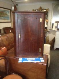 Superb Antique Victorian Spice Tiger Oak Wall Corner Cabinet