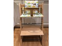 STOKKE TRIPP TRAPP High Chair BEECH W/BABY SET AND CUSHION - VERY GOOD CONDITION
