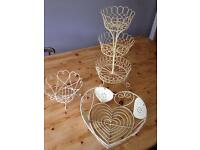 Cupcake stand and 2 x heart wire dishes Shabby chic cottage style storage