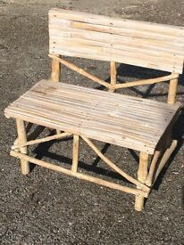 White Wash Decorative Bamboo Bench